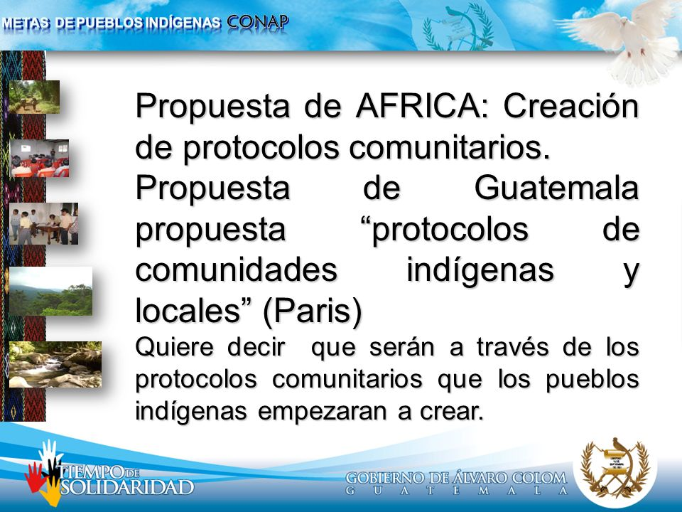 Propuesta de AFRICA: Creación de protocolos comunitarios. Propuesta de Guatemala propuesta protocolos de comunidades indígenas y locales (Paris) Quier