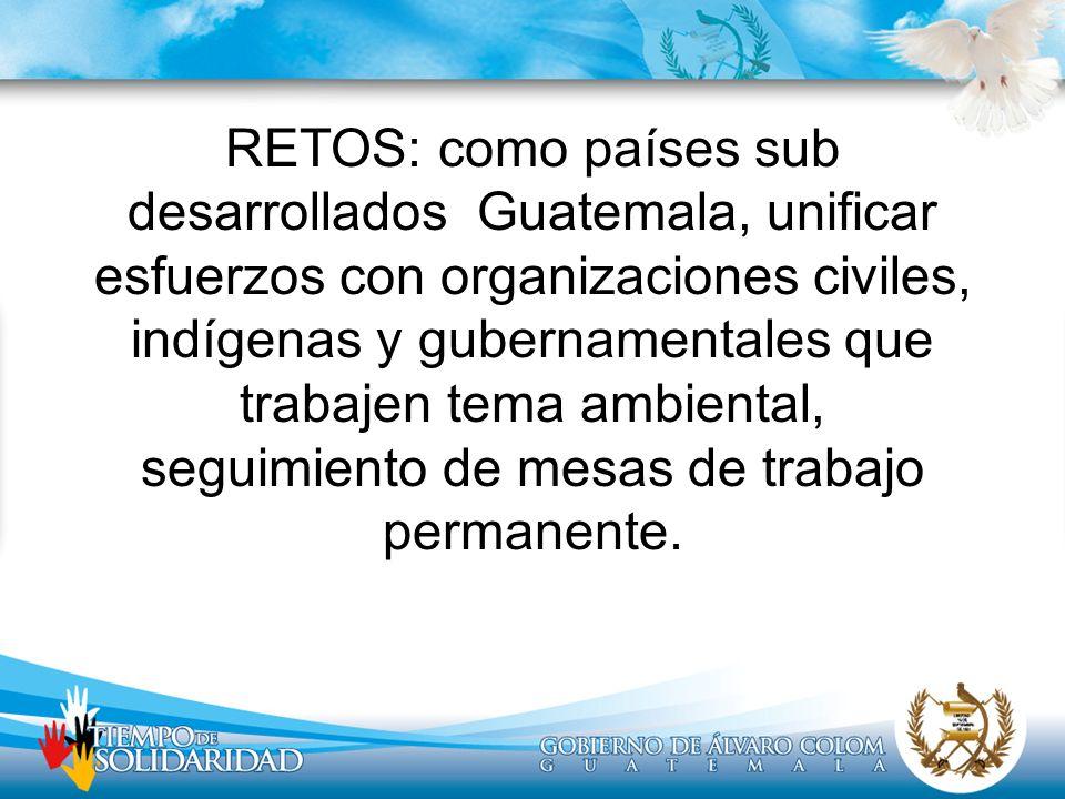 RETOS: como países sub desarrollados Guatemala, unificar esfuerzos con organizaciones civiles, indígenas y gubernamentales que trabajen tema ambiental