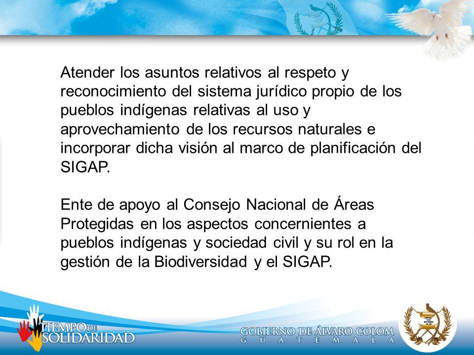 Atender los asuntos relativos al respeto y reconocimiento del sistema jurídico propio de los pueblos indígenas relativas al uso y aprovechamiento de l