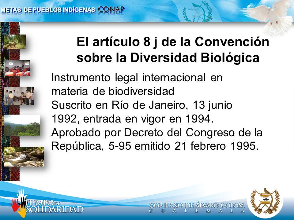El artículo 8 j de la Convención sobre la Diversidad Biológica Instrumento legal internacional en materia de biodiversidad Suscrito en Río de Janeiro,