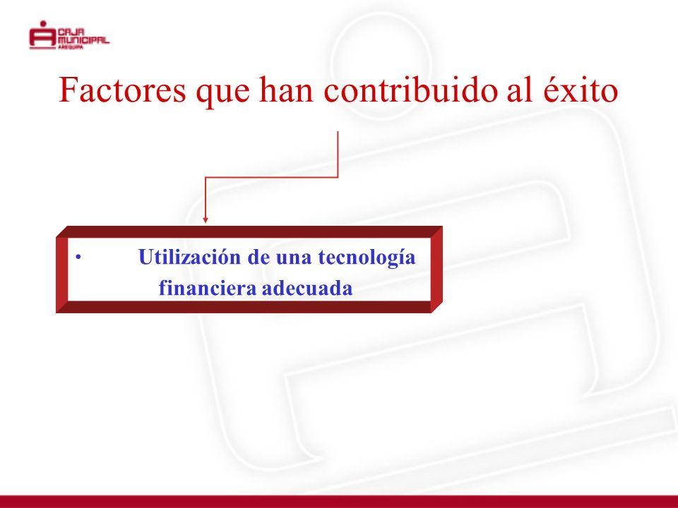 Factores que han contribuido al éxito Utilización de una tecnología financiera adecuada