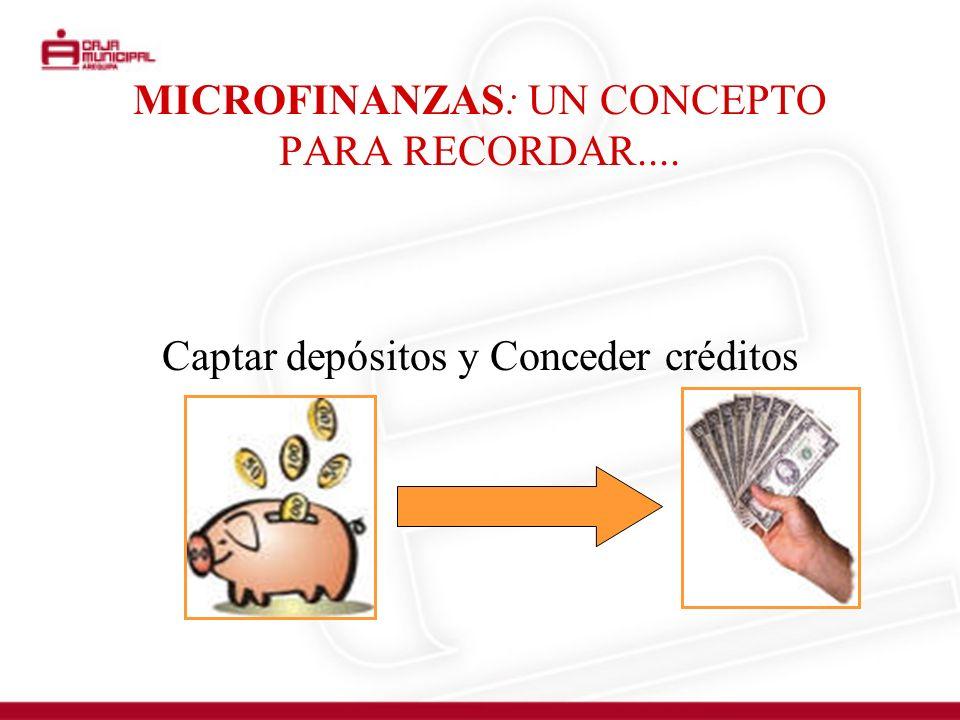 MICROFINANZAS: UN CONCEPTO PARA RECORDAR.... Captar depósitos y Conceder créditos