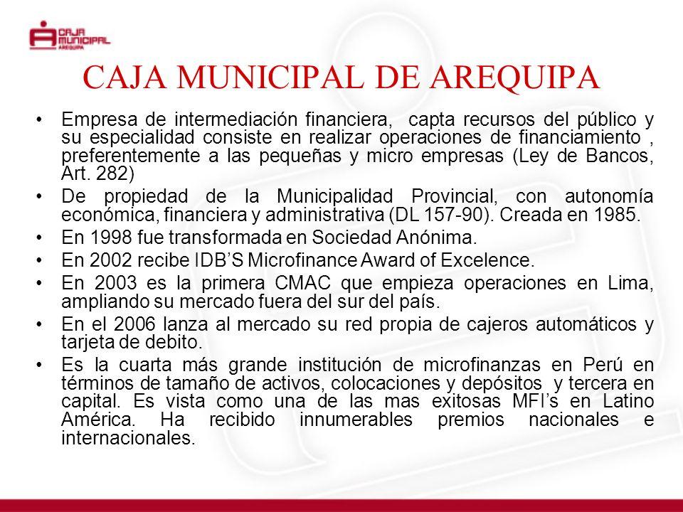 CAJA MUNICIPAL DE AREQUIPA Empresa de intermediación financiera, capta recursos del público y su especialidad consiste en realizar operaciones de fina