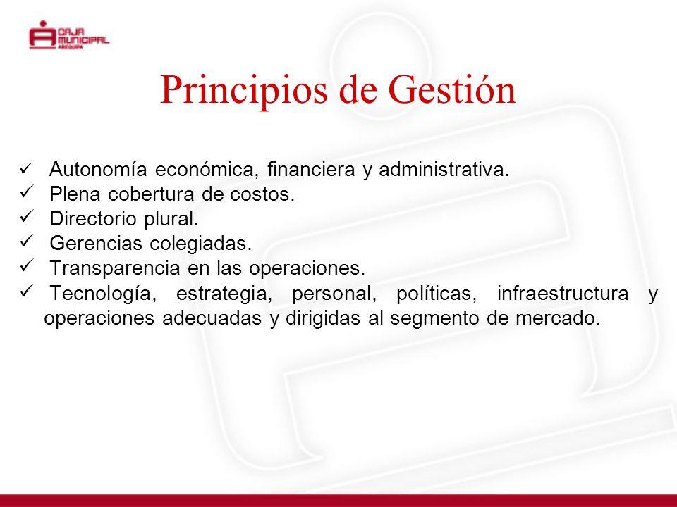 Principios de Gestión Autonomía económica, financiera y administrativa. Plena cobertura de costos. Directorio plural. Gerencias colegiadas. Transparen