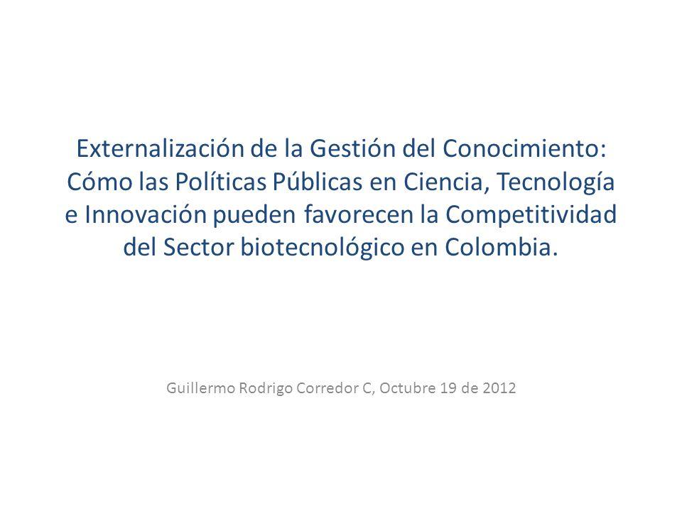 Estructura 1.Oportunidades para la implementación de esquemas KPO en materia de biotecnología 2.Estudio de políticas públicas: KPO dentro del enfoque de cadena de valor propuesto en la política pública para el desarrollo comercial de biodiversidad 3.Futuro de esquemas KPO en el marco de la creciente integración comercial (TLC Col-USA)