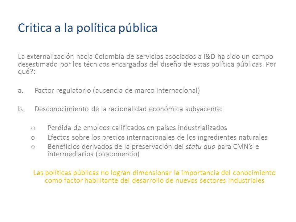 Critica a la política pública La externalización hacia Colombia de servicios asociados a I&D ha sido un campo desestimado por los técnicos encargados