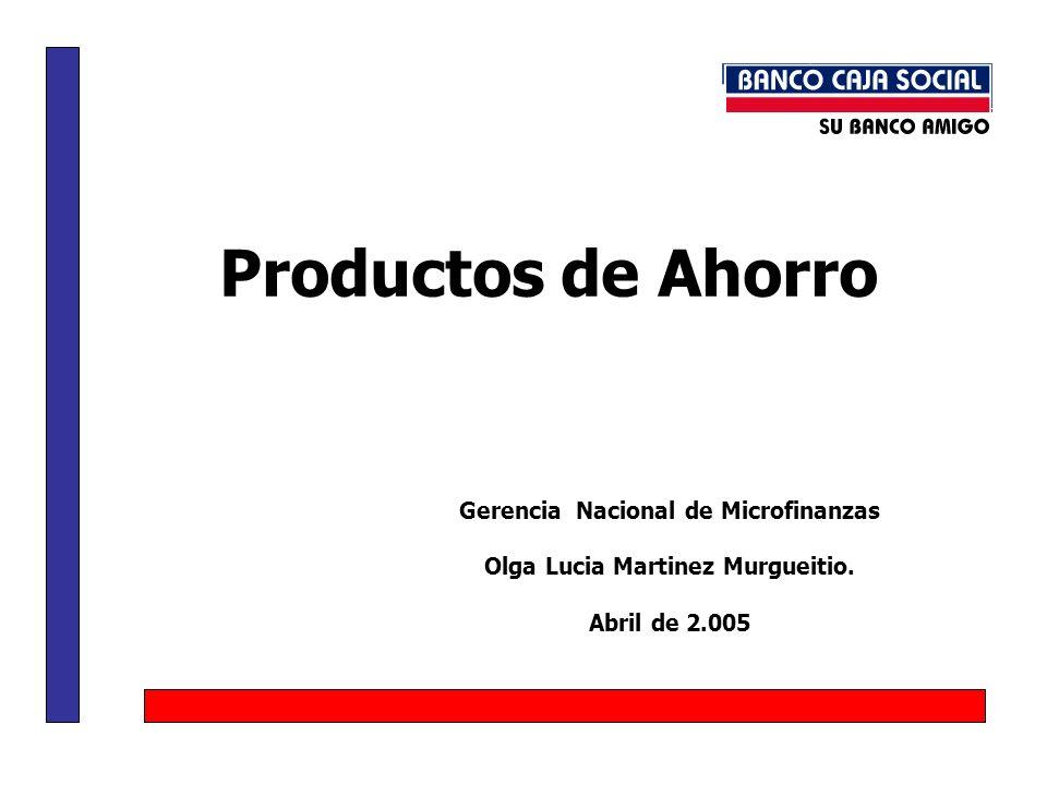 Productos de Ahorro Gerencia Nacional de Microfinanzas Olga Lucia Martinez Murgueitio.