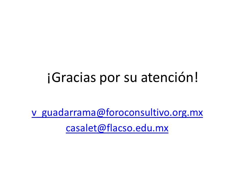 ¡Gracias por su atención! v_guadarrama@foroconsultivo.org.mx casalet@flacso.edu.mx
