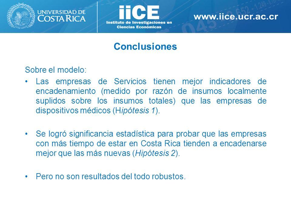 Conclusiones Sobre el modelo: Las empresas de Servicios tienen mejor indicadores de encadenamiento (medido por razón de insumos localmente suplidos so