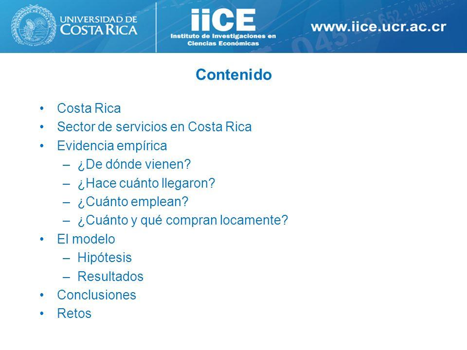 Contenido Costa Rica Sector de servicios en Costa Rica Evidencia empírica –¿De dónde vienen? –¿Hace cuánto llegaron? –¿Cuánto emplean? –¿Cuánto y qué