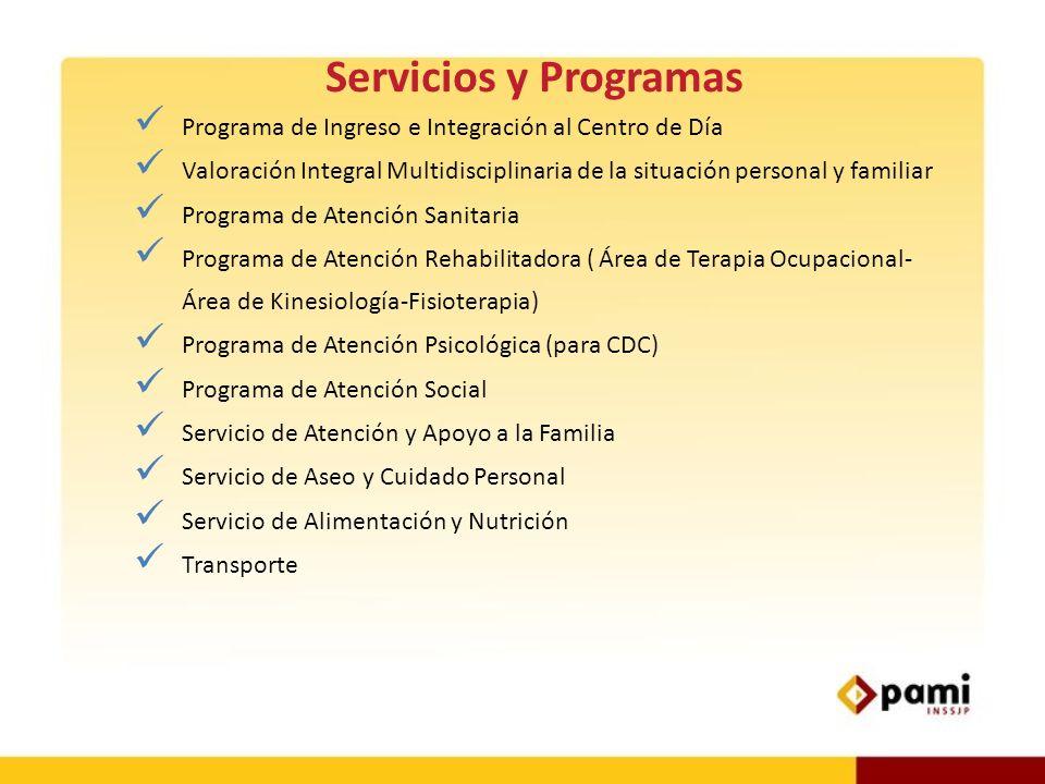 Servicios y Programas Programa de Ingreso e Integración al Centro de Día Valoración Integral Multidisciplinaria de la situación personal y familiar Pr