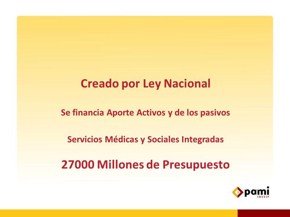 Creado por Ley Nacional Se financia Aporte Activos y de los pasivos Servicios Médicas y Sociales Integradas 27000 Millones de Presupuesto