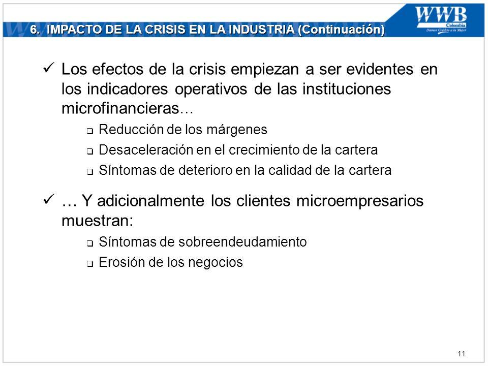6. IMPACTO DE LA CRISIS EN LA INDUSTRIA (Continuación) Los efectos de la crisis empiezan a ser evidentes en los indicadores operativos de las instituc