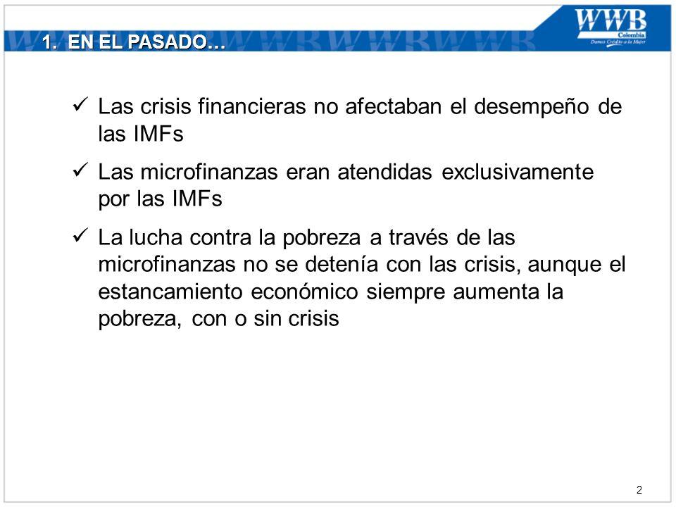 1. EN EL PASADO… Las crisis financieras no afectaban el desempeño de las IMFs Las microfinanzas eran atendidas exclusivamente por las IMFs La lucha co