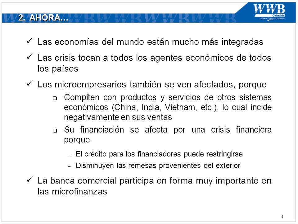 2. AHORA… Las economías del mundo están mucho más integradas Las crisis tocan a todos los agentes económicos de todos los países Los microempresarios