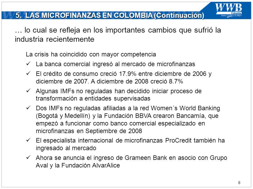 5. LAS MICROFINANZAS EN COLOMBIA (Continuación) … lo cual se refleja en los importantes cambios que sufrió la industria recientemente La crisis ha coi
