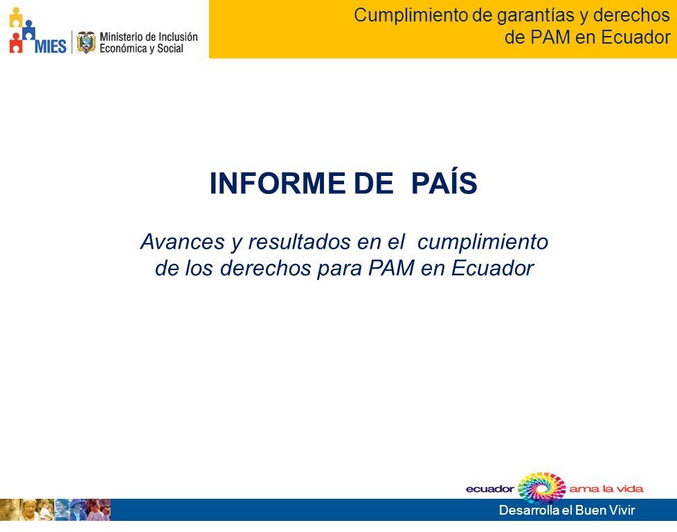 Desarrolla el Buen Vivir Tema de la presentación Cumplimiento de garantías y derechos de PAM en Ecuador INFORME DE PAÍS Avances y resultados en el cumplimiento de los derechos para PAM en Ecuador