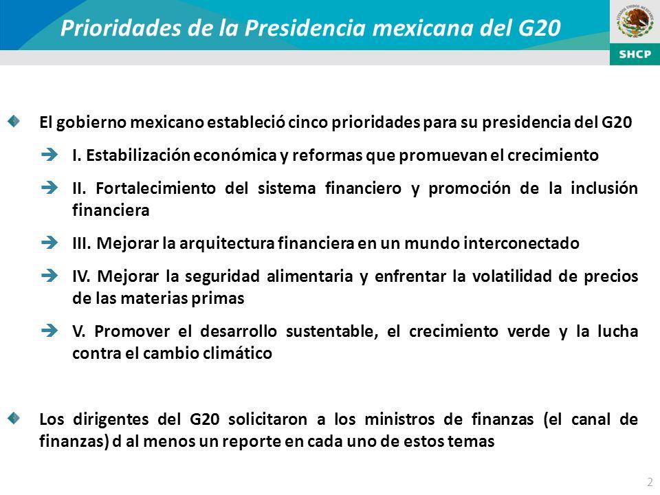 2 Prioridades de la Presidencia mexicana del G20 El gobierno mexicano estableció cinco prioridades para su presidencia del G20 I.