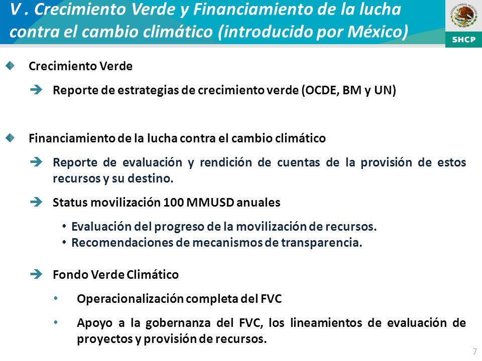 7 V. Crecimiento Verde y Financiamiento de la lucha contra el cambio climático (introducido por México) Crecimiento Verde Reporte de estrategias de cr