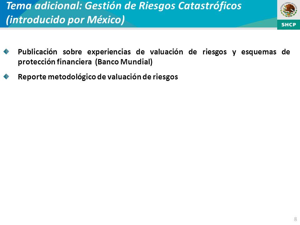 8 Tema adicional: Gestión de Riesgos Catastróficos (introducido por México) Publicación sobre experiencias de valuación de riesgos y esquemas de protección financiera (Banco Mundial) Reporte metodológico de valuación de riesgos