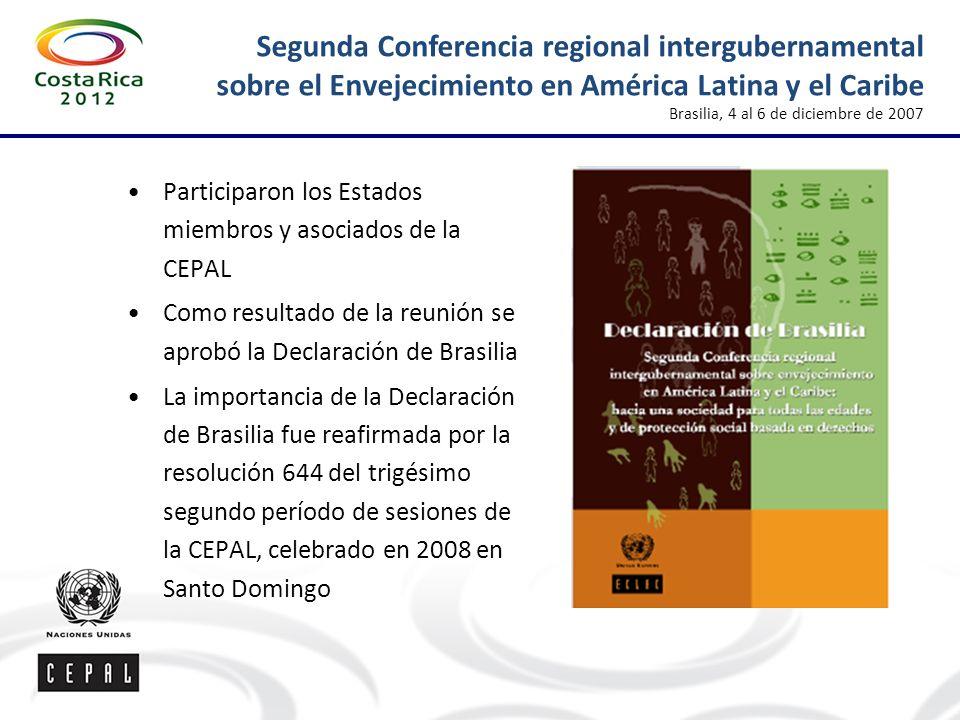 Segunda Conferencia regional intergubernamental sobre el Envejecimiento en América Latina y el Caribe Brasilia, 4 al 6 de diciembre de 2007 Participaron los Estados miembros y asociados de la CEPAL Como resultado de la reunión se aprobó la Declaración de Brasilia La importancia de la Declaración de Brasilia fue reafirmada por la resolución 644 del trigésimo segundo período de sesiones de la CEPAL, celebrado en 2008 en Santo Domingo
