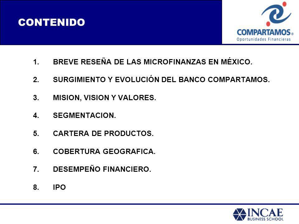 1.BREVE RESEÑA DE LAS MICROFINANZAS EN MÉXICO. 2.SURGIMIENTO Y EVOLUCIÓN DEL BANCO COMPARTAMOS. 3.MISION, VISION Y VALORES. 4.SEGMENTACION. 5.CARTERA