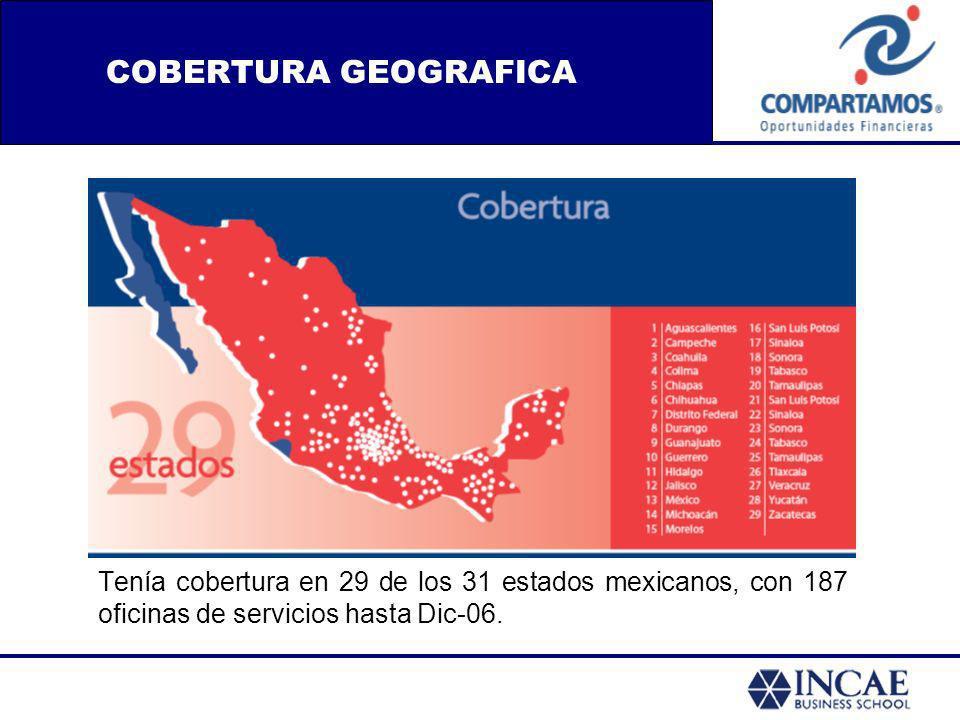 Tenía cobertura en 29 de los 31 estados mexicanos, con 187 oficinas de servicios hasta Dic-06. COBERTURA GEOGRAFICA