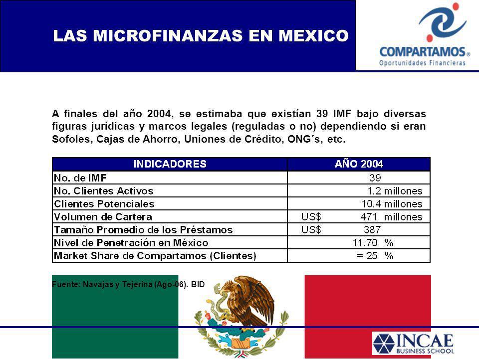 LAS MICROFINANZAS EN MEXICO Fuente: Navajas y Tejerina (Ago-06). BID A finales del año 2004, se estimaba que existían 39 IMF bajo diversas figuras jur
