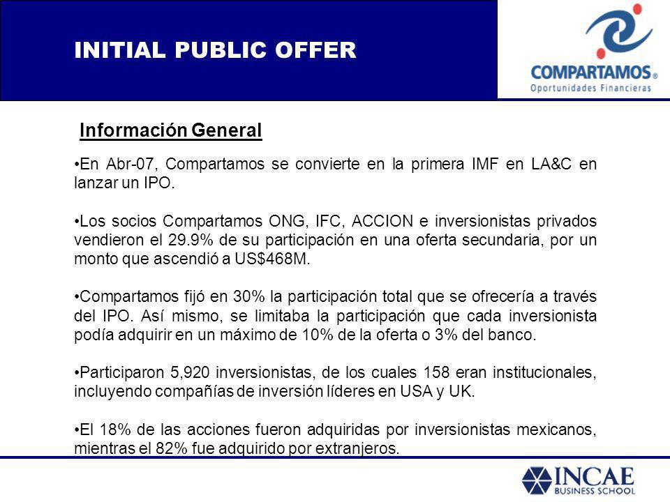 INITIAL PUBLIC OFFER Información General En Abr-07, Compartamos se convierte en la primera IMF en LA&C en lanzar un IPO. Los socios Compartamos ONG, I