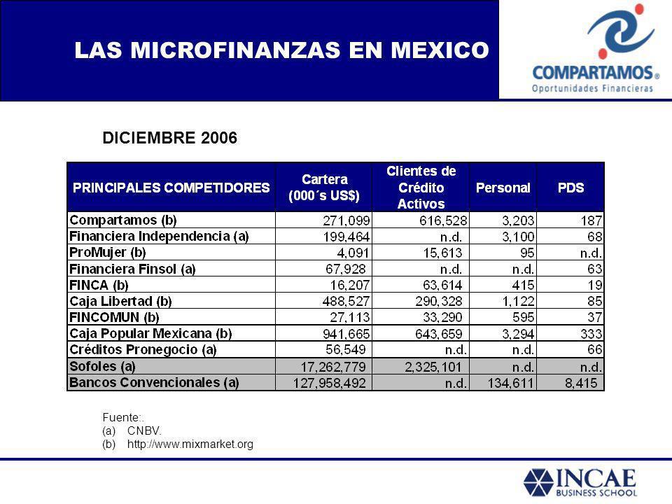 LAS MICROFINANZAS EN MEXICO Fuente:. (a)CNBV. (b)http://www.mixmarket.org DICIEMBRE 2006
