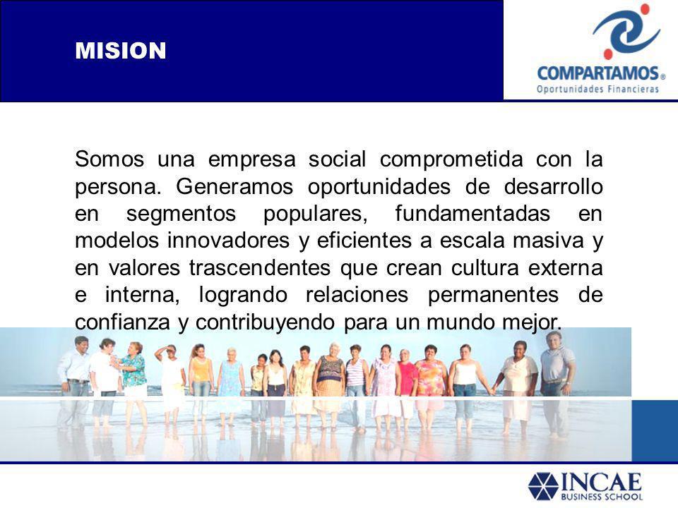 MISION Somos una empresa social comprometida con la persona. Generamos oportunidades de desarrollo en segmentos populares, fundamentadas en modelos in