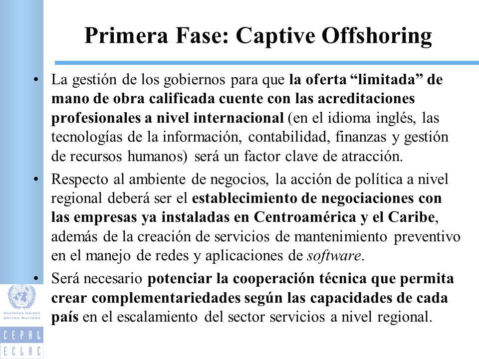 Primera Fase: Captive Offshoring La gestión de los gobiernos para que la oferta limitada de mano de obra calificada cuente con las acreditaciones prof