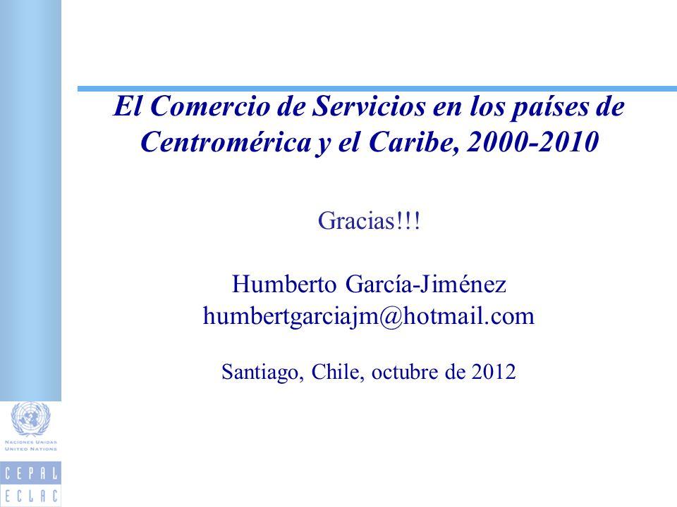 El Comercio de Servicios en los países de Centromérica y el Caribe, 2000-2010 Gracias!!! Humberto García-Jiménez humbertgarciajm@hotmail.com Santiago,