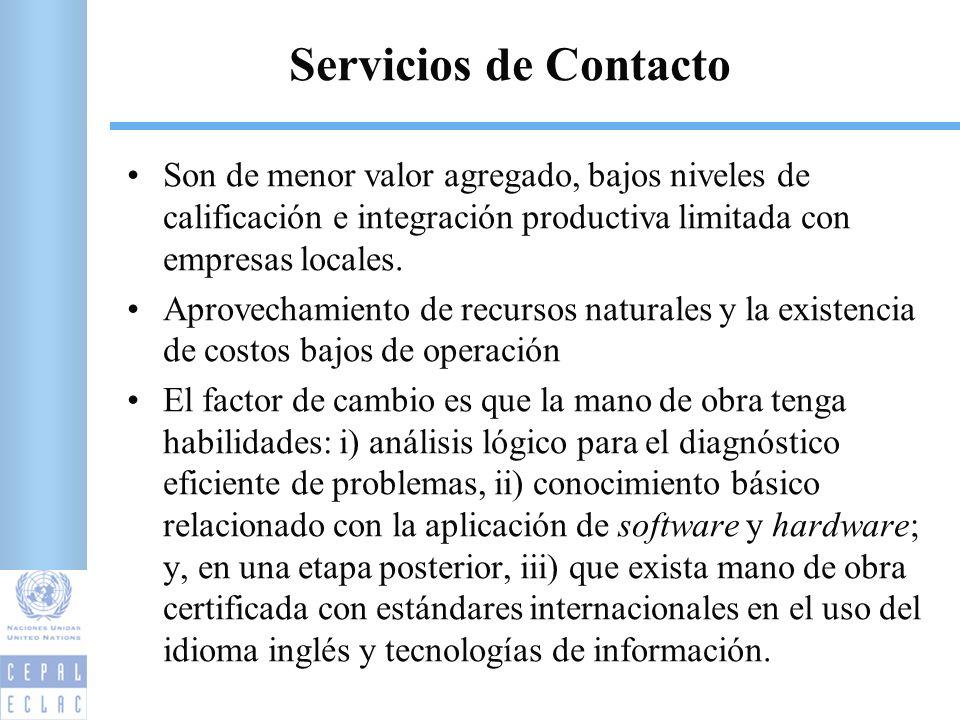 Servicios de Contacto Son de menor valor agregado, bajos niveles de calificación e integración productiva limitada con empresas locales.