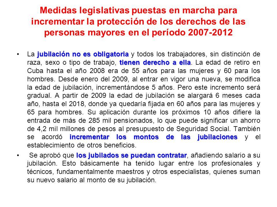 Medidas legislativas puestas en marcha para incrementar la protección de los derechos de las personas mayores en el período 2007-2012 jubilación no es