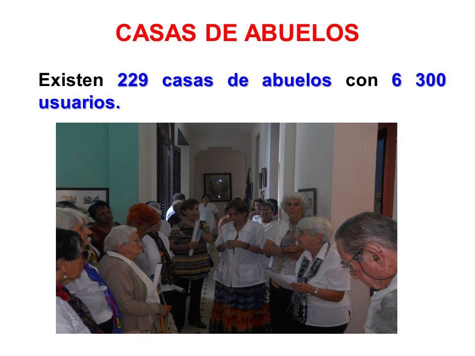 CASAS DE ABUELOS 229 casas de abuelos 6 300 usuarios. Existen 229 casas de abuelos con 6 300 usuarios.