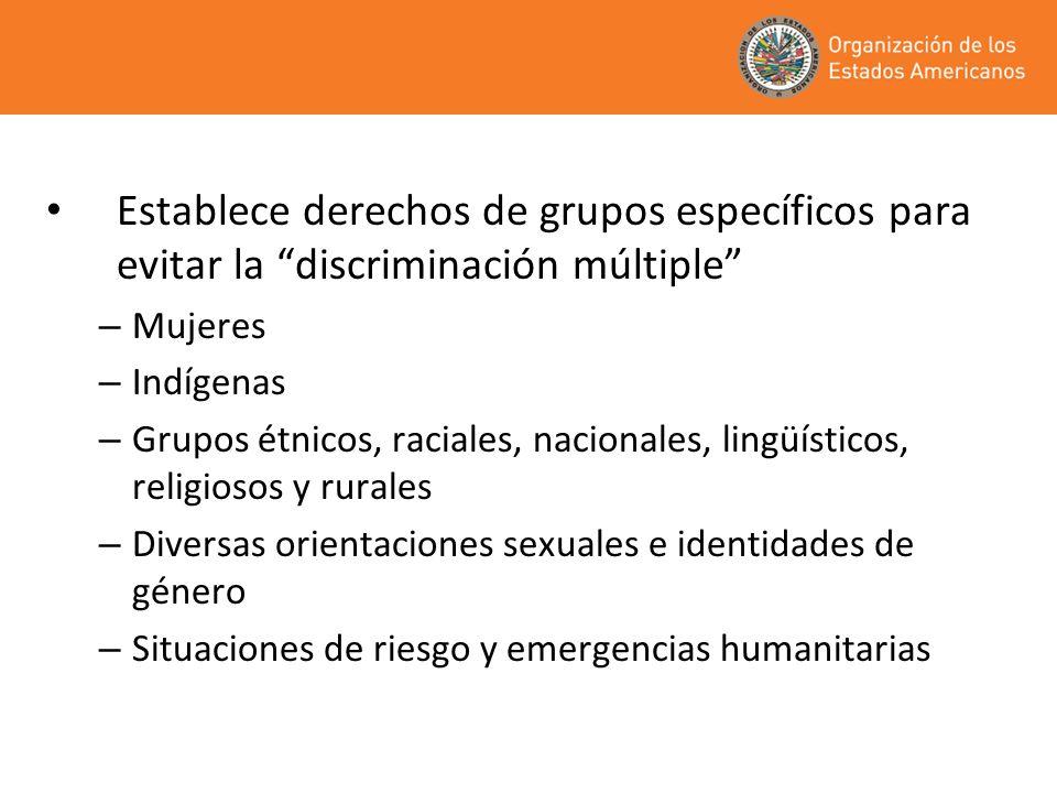 Establece derechos de grupos específicos para evitar la discriminación múltiple – Mujeres – Indígenas – Grupos étnicos, raciales, nacionales, lingüíst