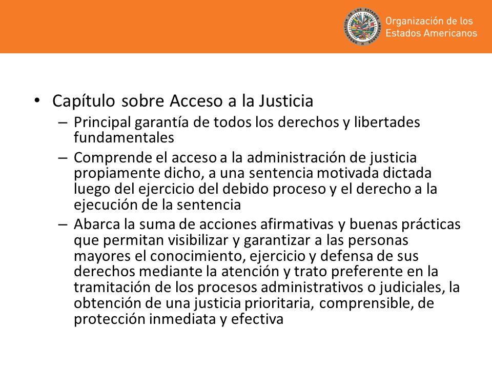 Capítulo sobre Acceso a la Justicia – Principal garantía de todos los derechos y libertades fundamentales – Comprende el acceso a la administración de