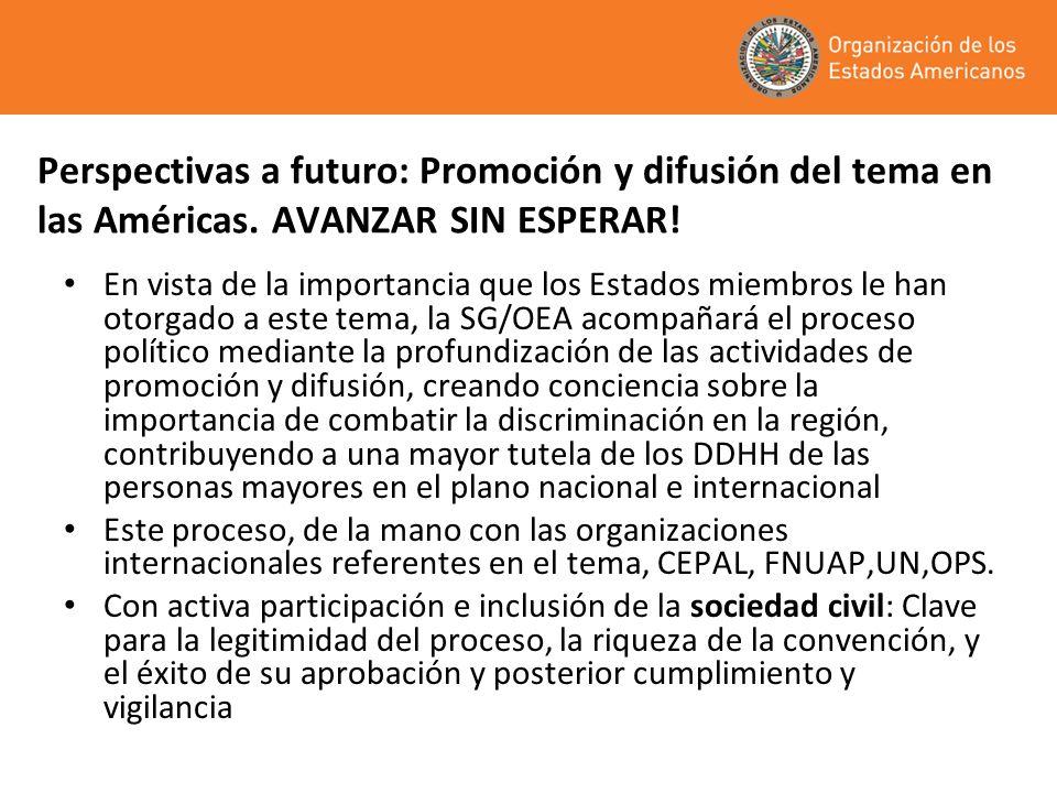 Perspectivas a futuro: Promoción y difusión del tema en las Américas. AVANZAR SIN ESPERAR! En vista de la importancia que los Estados miembros le han