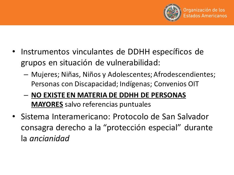 Instrumentos vinculantes de DDHH específicos de grupos en situación de vulnerabilidad: – Mujeres; Niñas, Niños y Adolescentes; Afrodescendientes; Pers