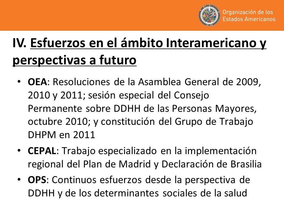 OEA: Resoluciones de la Asamblea General de 2009, 2010 y 2011; sesión especial del Consejo Permanente sobre DDHH de las Personas Mayores, octubre 2010