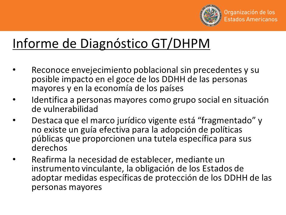 Informe de Diagnóstico GT/DHPM Reconoce envejecimiento poblacional sin precedentes y su posible impacto en el goce de los DDHH de las personas mayores