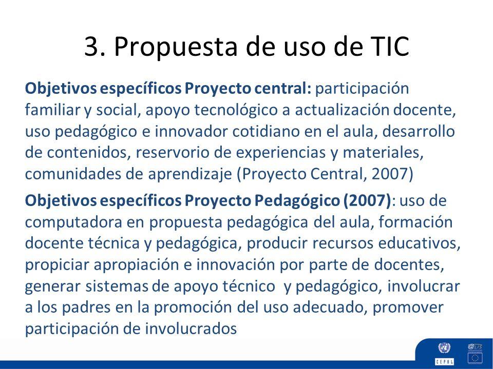 3. Propuesta de uso de TIC Objetivos específicos Proyecto central: participación familiar y social, apoyo tecnológico a actualización docente, uso ped