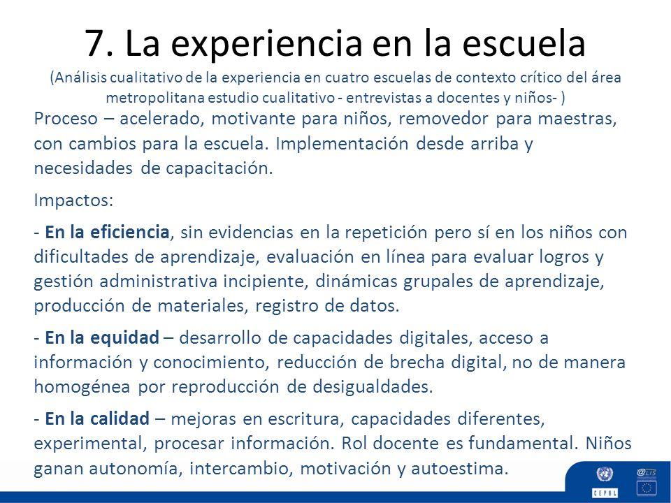 7. La experiencia en la escuela (Análisis cualitativo de la experiencia en cuatro escuelas de contexto crítico del área metropolitana estudio cualitat