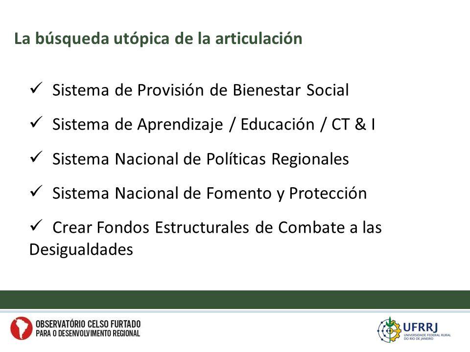 Sistema de Provisión de Bienestar Social Sistema de Aprendizaje / Educación / CT & I Sistema Nacional de Políticas Regionales Sistema Nacional de Fomento y Protección Crear Fondos Estructurales de Combate a las Desigualdades La búsqueda utópica de la articulación