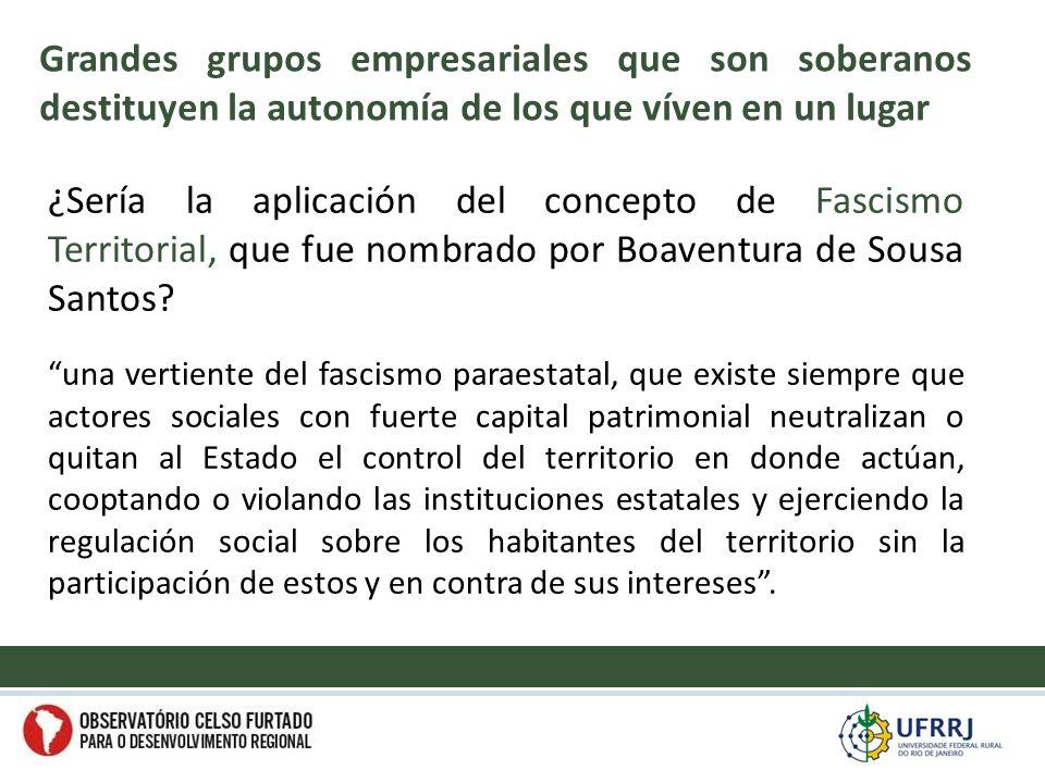 ¿Sería la aplicación del concepto de Fascismo Territorial, que fue nombrado por Boaventura de Sousa Santos.