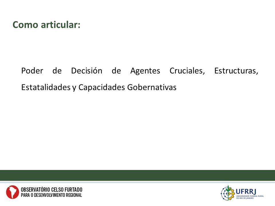 Poder de Decisión de Agentes Cruciales, Estructuras, Estatalidades y Capacidades Gobernativas Como articular: