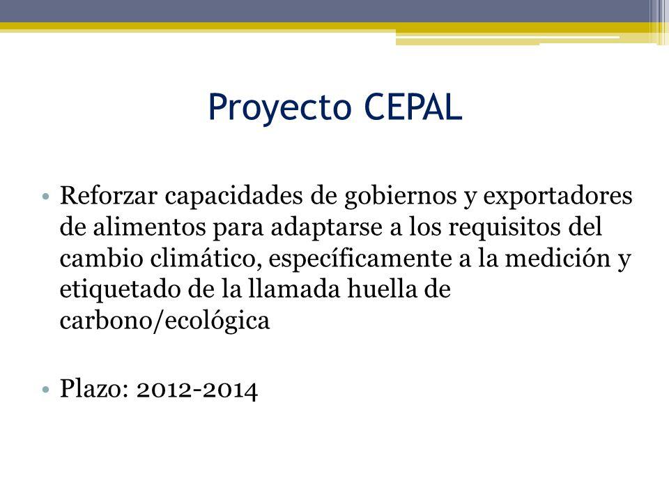 Proyecto CEPAL Reforzar capacidades de gobiernos y exportadores de alimentos para adaptarse a los requisitos del cambio climático, específicamente a l