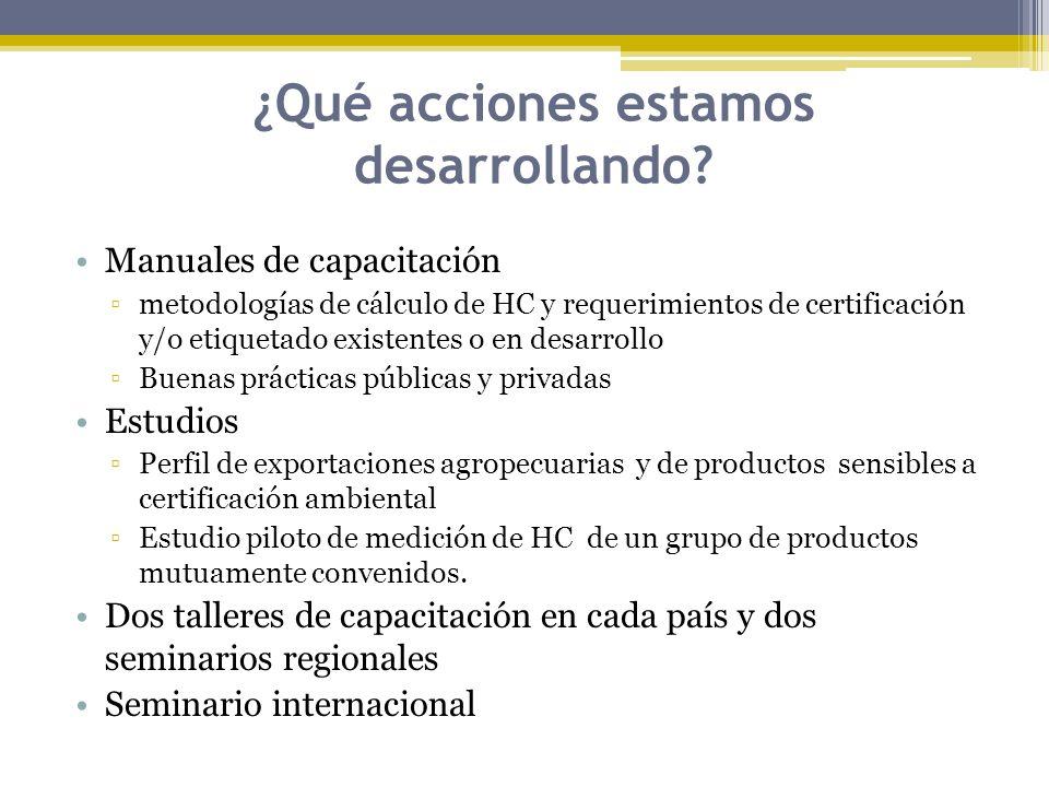 ¿Qué acciones estamos desarrollando? Manuales de capacitación metodologías de cálculo de HC y requerimientos de certificación y/o etiquetado existente