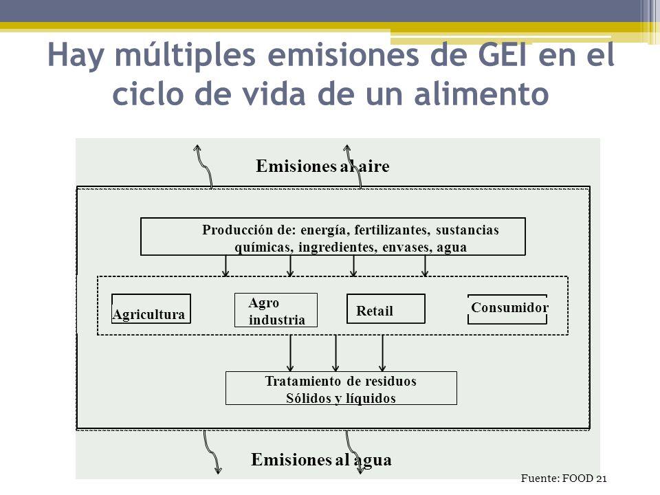 Hay múltiples emisiones de GEI en el ciclo de vida de un alimento Tratamiento de residuos Sólidos y líquidos Agricultura Agro industria Retail Consumi